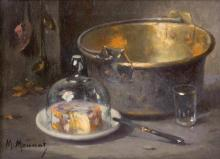 Maurice Louis MONNOT (1869-1937) Nature morte au fromage.