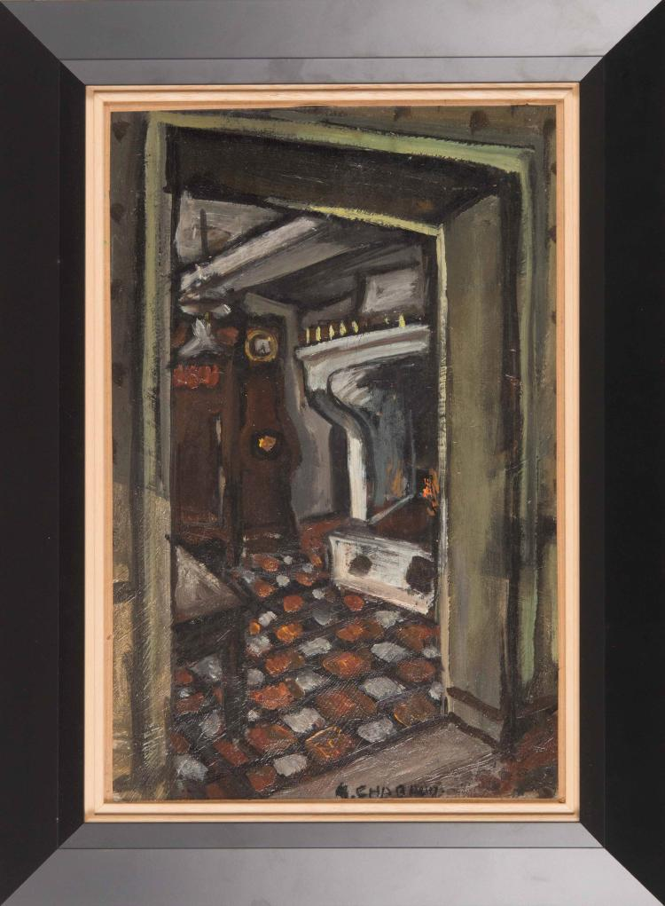 Auguste chabaud 1882 1955 int rieur avec chemin e for Cheminee interieur