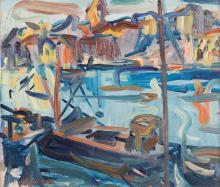 Antoine FERRARI (1910-1995) Bateaux dans le port.