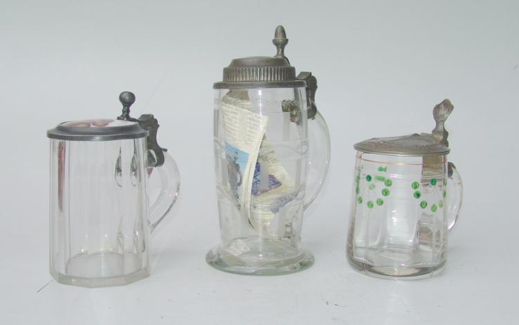3 Deckelhumpen, deutsch 1800-1900