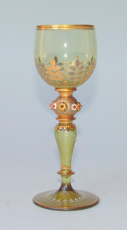 Theresienthal, Kristallglasmanufaktur: 3 Prunk-Gläser, um 1900