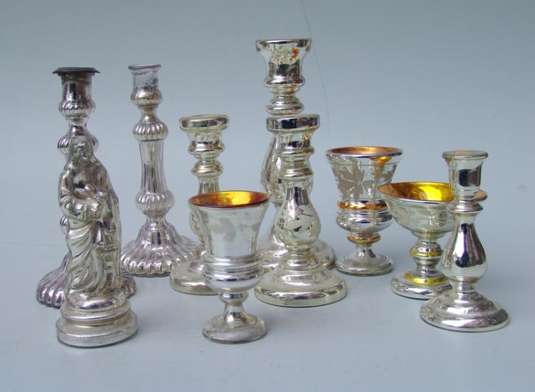 Sammlung Bauernsilber/Silberglas, 19.Jhd., 10 Teile