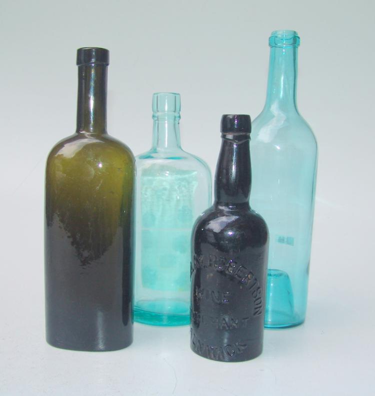 4 Flaschen, um 1900