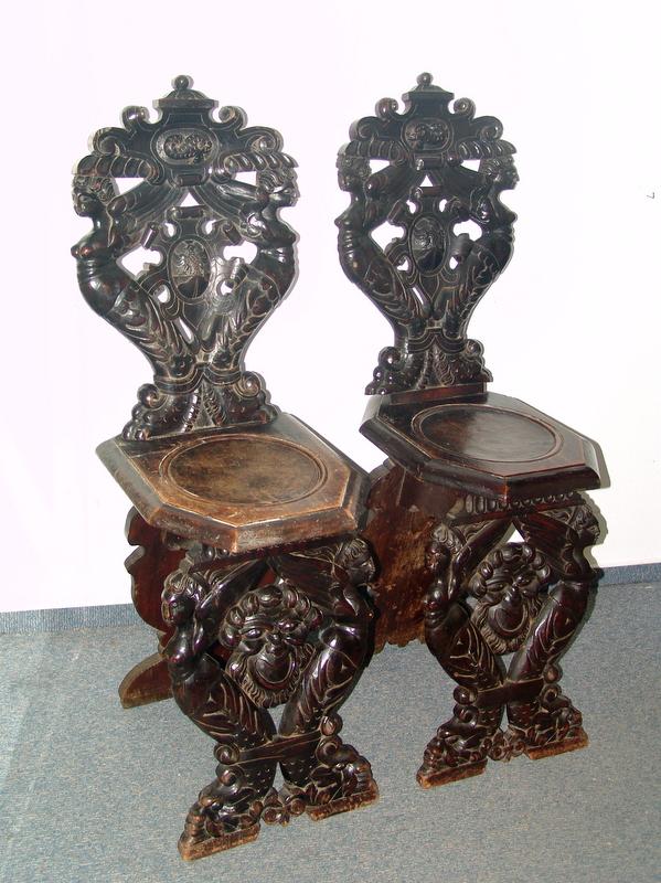 Paar Scabelli, nach Renaissance-Vorbild, 19.Jhd.