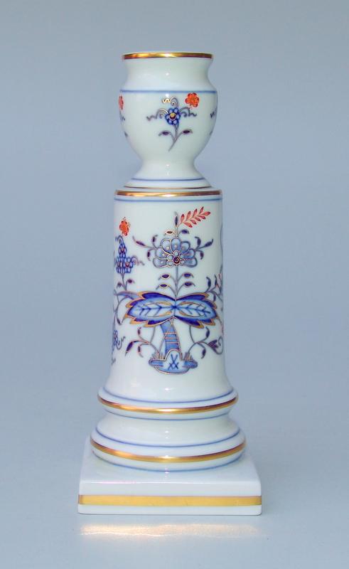 Staatlich Meissen (Unterglasurblaue Schwertermarke Modellmarke 62b , 1 Wahl): Kerzenleuchter mit Zwiebelmuster und reichem Gold
