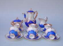 Königl. Meissen (Unterglasurblaue Marke ( Knaufzeit)  1850-1914): Kaffeeservice B Form in hellblau für 6 Pers. Kpl. 15tlg.