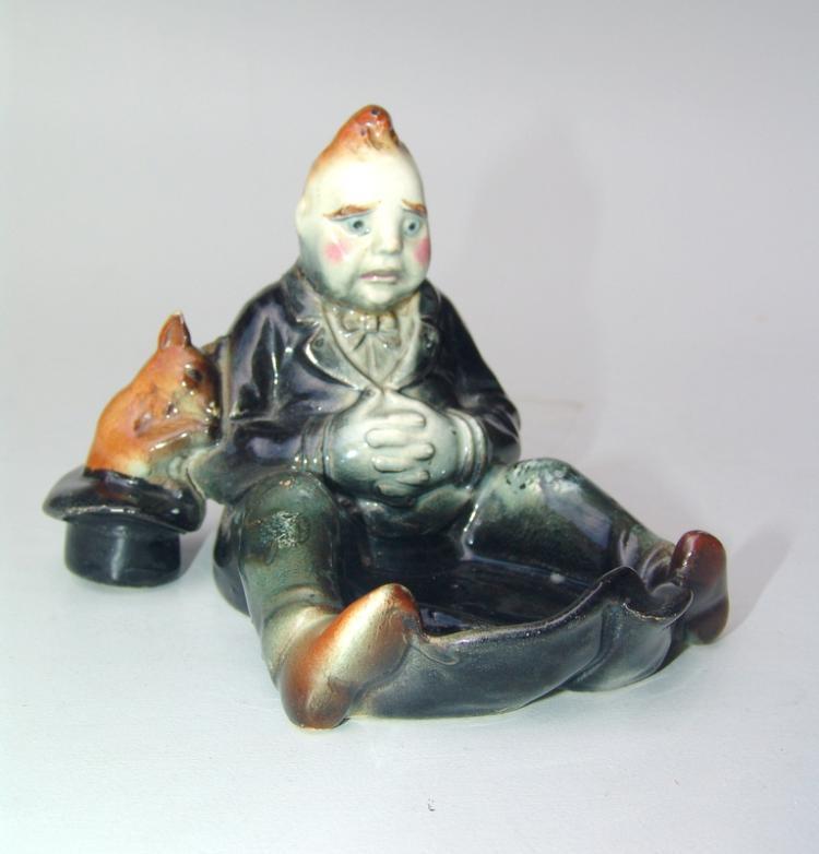 2 Schmuckschalen/Keramikfiguren um 1920