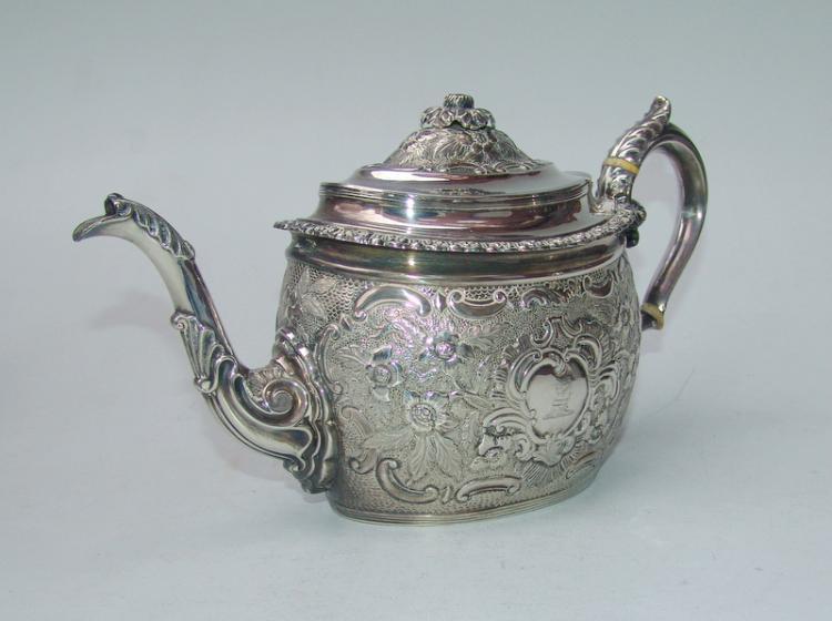 Große Regency-Teekanne, London Sterling von Thos Wallis 1801