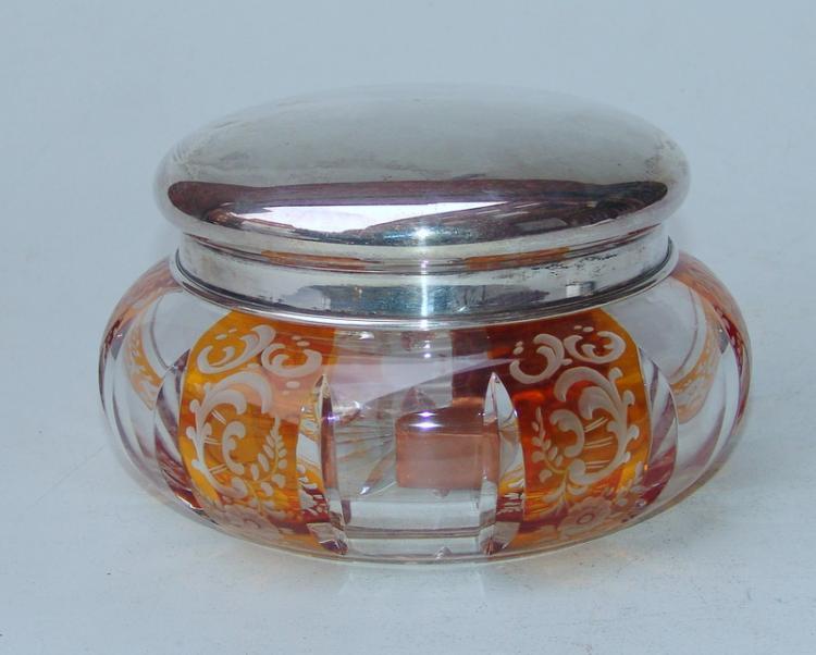 Bleikristallkeksdose mit Silberdeckel, 30er Jahre