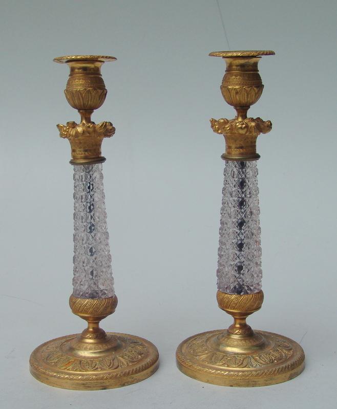 Französischche Tischleuchter Bronze Doré und Kristall 19.Jhd.