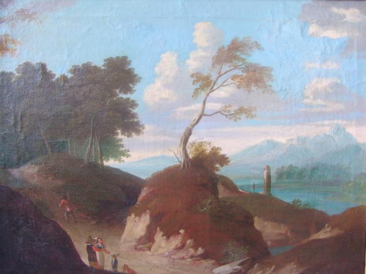 deutscher Maler des 18.Jhd.: Gebirgslandschaft mit Hohlweg, Ende 18.Jhd.