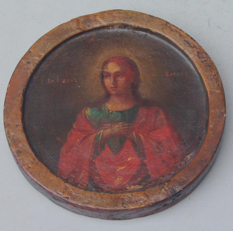 Doppel-Tondo, Christus unter dem Kreuz-Hl Johannes, 17.Jhd.