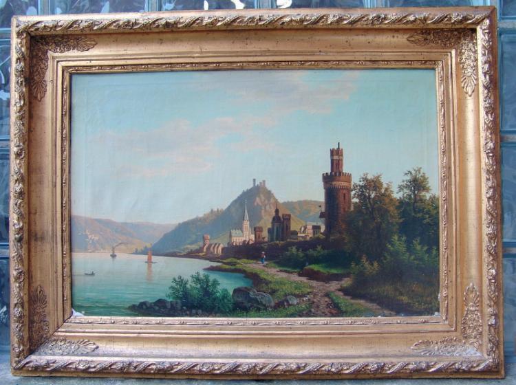 Romantisch Ansicht von Alken am Rhein 19. Jhd.