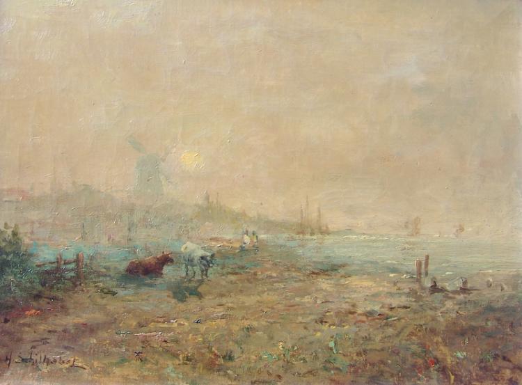 Schilhabel, Helmut Joseph (1896 in Burgstadt bei Posen; † 1972 in Hamburg): Morgennebel an der holländischen Küste mit grasenden Kühen