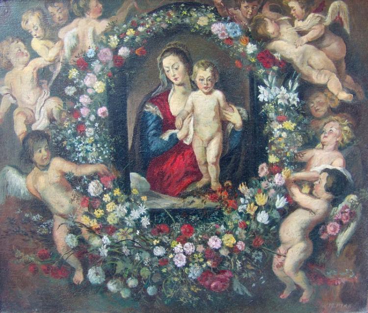 Pyka, Max (Tötig 1. H. 20. Jh in Frankfurt und Umg.): Madonna mit der Blumengirlande