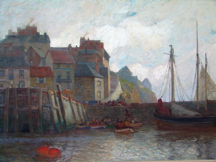 Becker, Carl (1862 in Hameln; 1926 Blankenese): Blick auf die Mole in einem französischen Hafen