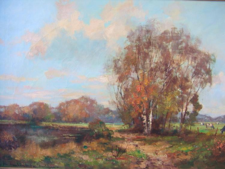 Thanhäuser v.Thuringen, deutscher Maler des 20.Jhd.: Sumpflandschaft mit Birken und Kühen