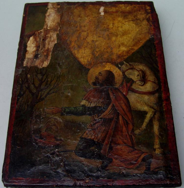 Grieschiche Ikone, Heiliger Hubertus 17/18.Jhd.
