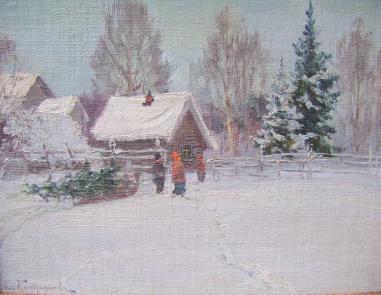 Weihnachtlicher Wintertag in einem Russischen Dorf