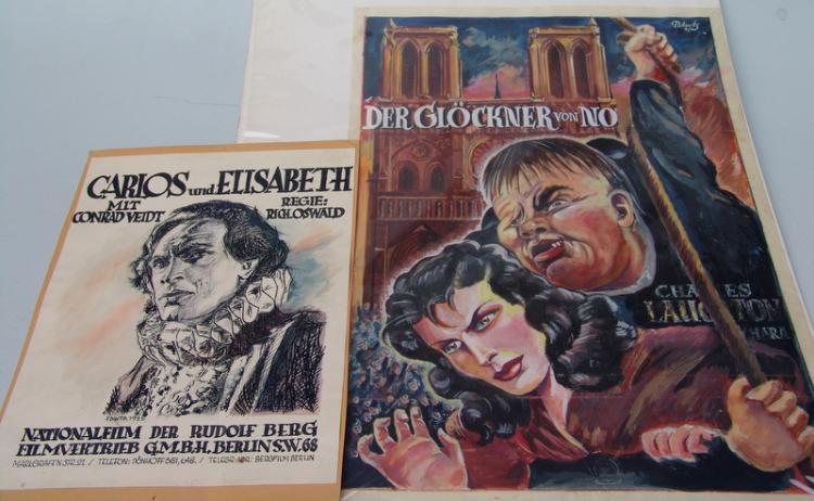 2 Filmplakatentwürfe von Podwitz 1925 und 1947: Glöckner von Notre Dame
