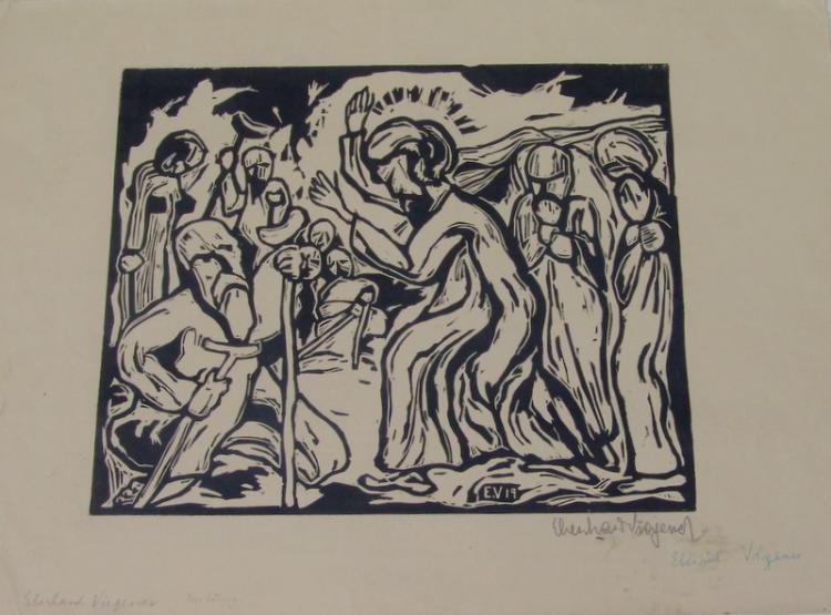 Viegener, Eberhard ( 1890 Soest; 1967 in Bilme, Künstler der Neuen Sachlichkeit und des Expressionismus): Holzschnitt
