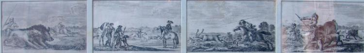 della Bella, Stefano (Nachfolger) (1610 Florenz - 1664 ebenda): 4 jagdliche Kupferstiche 17.Jhd.