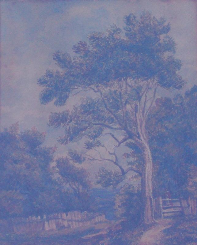 englischer Maler des 19.Jhd.: Landschaft mit Fluss und Uferpfad, 19.Jhd.