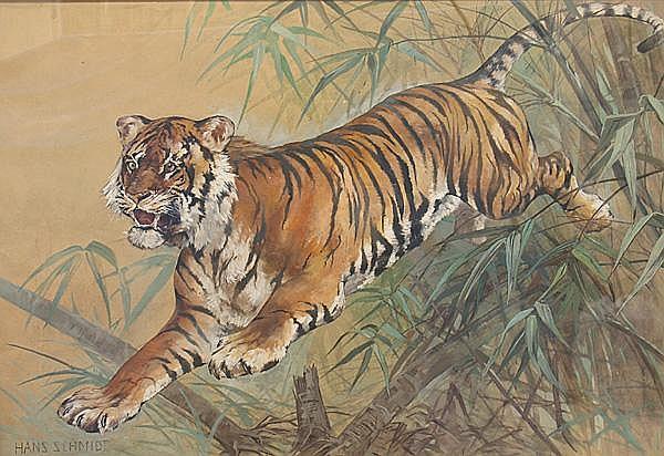 Schmidt, Hans (geb.1877 Berlin) Springender Tiger