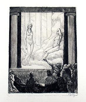 Graf, Oskar (1870-1955) Theaterstück. Radierung