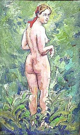 Pigage, Werner von (1888 Breslau-Mannheim 1959) Stehender Madchenakt im Wald, nach Anderszorn. Gouache, mittig unten sign., bez. und dat. 1953. 38x23 cm. R.