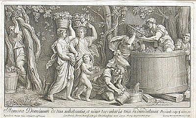 Frezza, Giovanni Girolamo (1659-1741) Dekorative Szene mit antiker Weinlese und Kelter. Kupferstich und Radierung, dat.1704, ca.24,5x41 cm, PP, R.