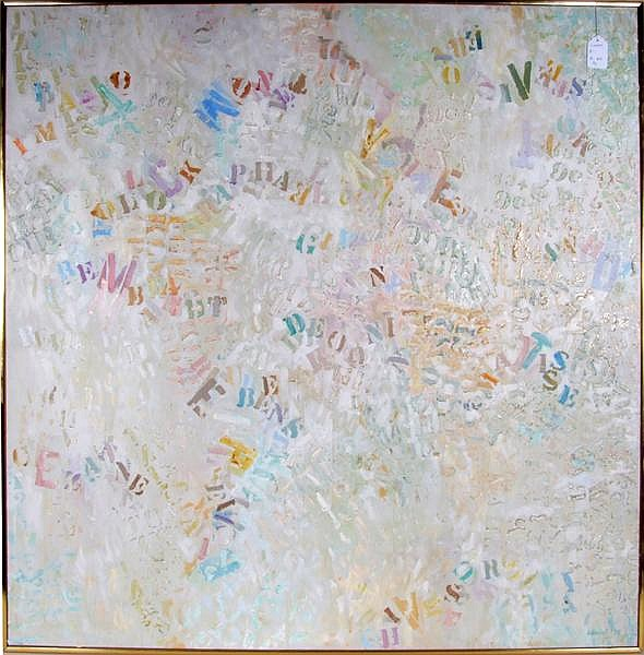JANE HASKELL (Pittsburgh 1923- ) 'Alphabet I', oil on canvas, signed lower right J. Haskell and dated '78. Exhibition label on verso. Contained in narrow frame. Condition: no visible defects. Dimensions: 53'' X 53'', frame 54'' X 54''. Jane Haskell