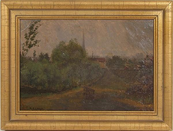 MARTIN B. LEISSER (Pittsburgh 1846-1940) Landscape with church, oil on board, signed lower left M.B. Leisser and dated 1916. Partial Harry Eichleay label on verso idientifies the location as Monongahela City. Contained in molded gilt frame.