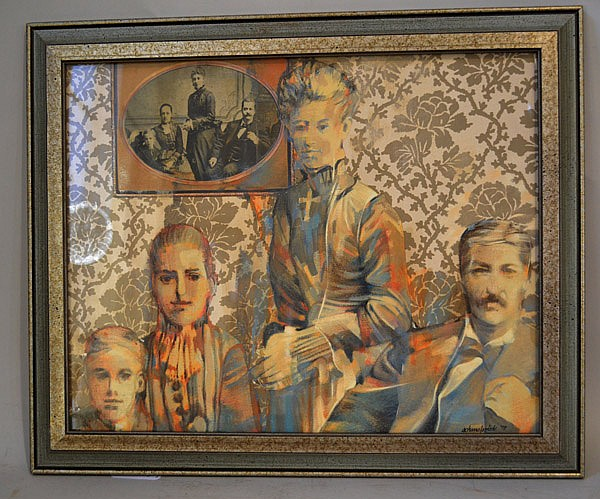 ROBERT SCHMALZRIED (Pittsburgh 1936- ) Victorian family portrait, mixed media, signed lower right Schmalzried and dated '77. Contained in glazed frame under glass. Condition: no visible defects. Dimensions: 15 1/2'' X 19 1/2'', frame 19 1/2'' X 23