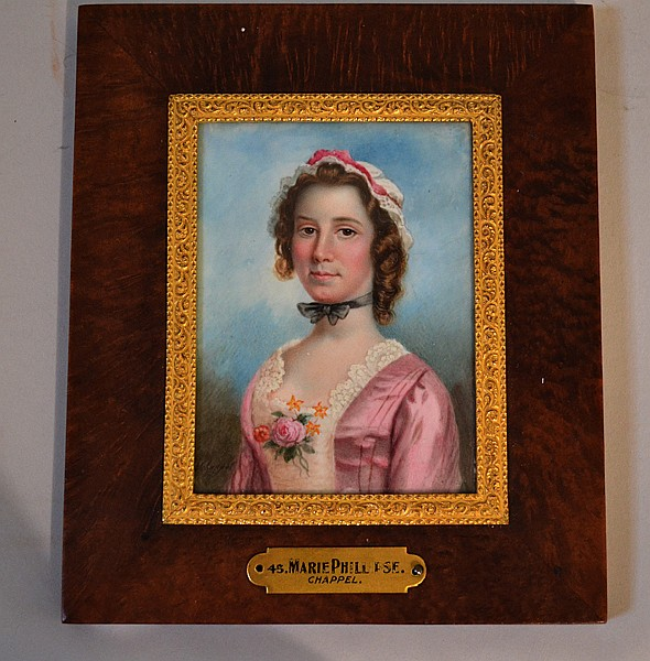 A. CHAPPEL IVORY MINIATURE PORTRAIT OF MARIE PHILLIPSE. 19th c. ivory portrait miniature by Alonzo Chappel (1828-1887) of Marie Phillipse (1730-1826) George Washington's first love. rectangular format framed under glass with metal fillet and burled