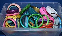 BOX OF MISC. COSTUME JEWELRY BANGLE BRACELETS  All jewelry sold as is.