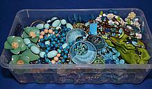 BOX OF GREEN AND BLUE TONE JEWELRY  All jewelry sold as is.