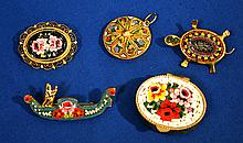 MICRO MOSAIC JEWELRY LOT 5 PIECES  Italian micro mosaic jewelry. Lot includes: Gondoula Brooch, Floral Pin, Geometric Pendant, Floral Decorated Pill Box, Turtle Pin.  Condition all jewelry sold as is.