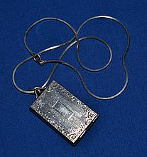 ART DECO LOCKET ON STERLING CHAIN  Bright cut art deco plated silver locket set on a sterling chain.  Chain 16''. Locket 1 1/2''L. Locket: Plated silver Chain:925  Condition all jewelry sold as is.
