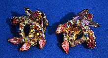 ELSA SCHIAPARELLI COSTUME JEWELRY EARRINGS   Schiaparelli colored rinestone clip earrings. Mark, Schiaparelli (c). Condition all jewelry sold as is.