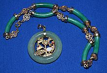 JADE JEWELRY LOT 2 PIECES  Includes, Pendant 1 3/4'' diam.  Necklace 14''L.  Condition all jewelry sold as is.