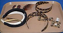 FAUX TORTOISE SHELL HAIR ORNAMENTS PLUS 7 PIECES. Lot includes; (2) faux tortoise head bands. (20 hair ornaments. (1) pair Richard Kerr sequin earrings. Plus other items. Condition: all jewelry sold as is.
