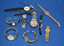 WATCH LOT 11 PIECES. Lot includes: Venetian wrist watch with glass bead bangle bracelet. Citadel 30 M water resistant quartz watch. Seiko quartz sports 100 alarm chronograph. Raymond Weil ladies wristwatch with 18K gold electroplate band. Sergio