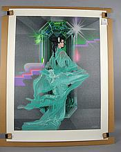 ROBERT PEAK (AMERICAN, 1927-1992) SERIGRAPH ''EMERALD NIGHT'' - Not Framed; Signed Lower Right, Numbered lower left 257/350; Measures 41.5''H x 31.5''W; Provenance: From the estate of Billy Brashier ''The Legend'' Projectionist in Hollywood for major films such as Forrest Gump, Rainman, Jurassic Park and many more. Born in Harmony Mississippi, Billy Brashier settled in Hollywood and split residence between Studio City, CA and Pittsburgh, PA - Condition: Age appropriate wear; All items sold as is.