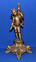 POT METAL PUTTI SCULPTURE   Gilt painted speltar putti set on Rococo style base.  15 1/4'' hieght.  6 1/2'' x 6 1/2'' base.  No Mark. Condition age appropriate wear.