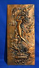 ROCOCO STYLE COPPER REPOUSSE PLAQUE   Vertical format.  Copper repousse plaque.  Goddess with putti and flowers.   20'' hieght.  9'' wide.  No Mark. Condition age appropriate wear.