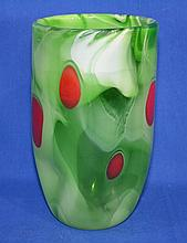 CONTEMPORARY ART GLASS VASE   Hand blown art glass vase. Swirling green ground with random red dots.  Ground and polished pontil.  9 1/2'' hieght.  5 1/2'' diam. top. 3'' diam. base.  No Mark.  Condition age appropriate wear.