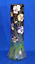 MONT JOYE ENAMELED ART GLASS VASE French mont joye art glass vase. Tall blown glass body. Shading amethyst to clear base. Ribbed interior. Body covered with polychrome enamel pansy blossoms and leaves with gilt highlights. Ground and polished pontil.