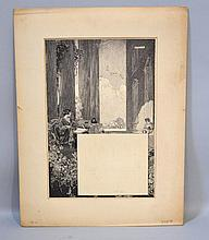 FRANKLIN BOOTH ORIGINAL PEN AND INK Franklin Booth (1874 - 1948) ''A prayer for holiday'' Original pen and ink drawing. Design for ''Good Housekeeping'' Signed upper right, ''Franklin Booth'' Paper 19 1/2''H. 14''W. Matte, 22''H. 17''W. Stamped on