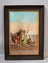 GIULIO ROSATI ARAB PRINT Giulio Rosati (Italian 1858 - 1917) Two Arabs with weapons and horse in desert. Under glass in wood and gilt frame. Paper, 18''H. 11 3/4''W. Frame, 22 1/4''H. 16 1/4''W. Original acid backing. Condition age appropriate wear.